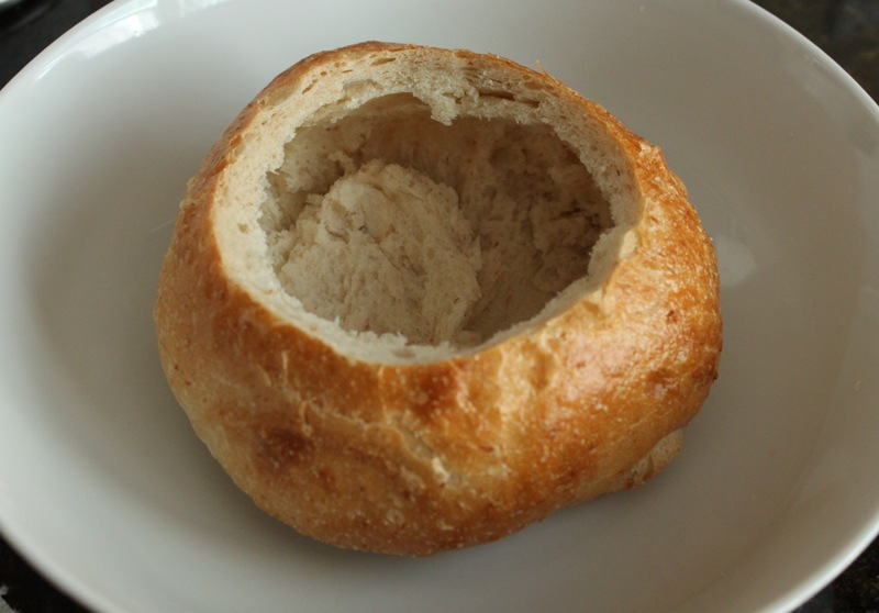 Pour the soup into the bread bowl and garnish with some of the chopped ...