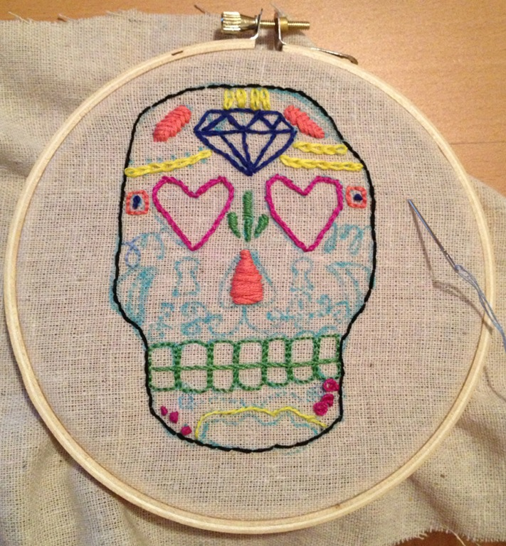 Crafty Corner Embroidered Sugar Skull Domestocrat
